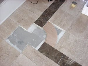 Breccia Paradiso and Diano Realle 12 x 12 marble.