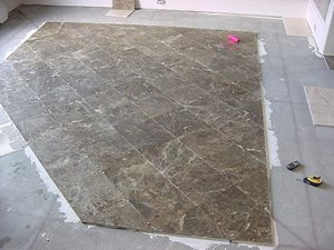 Breccia Paradiso 12 x 12 Marble set on a 45 degree angel make up this field tile in this bordered installation.